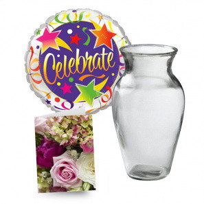 Balloon, Vase & Card buy at Florist