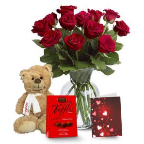 One Dozen Long Stemmed Red Rose Combo buy at Florist