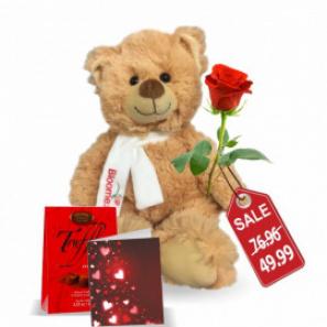 Teddy, Rose, Truffles & Card