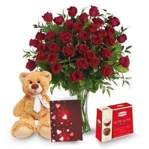 Three Dozen Long Stem Red Rose Combo